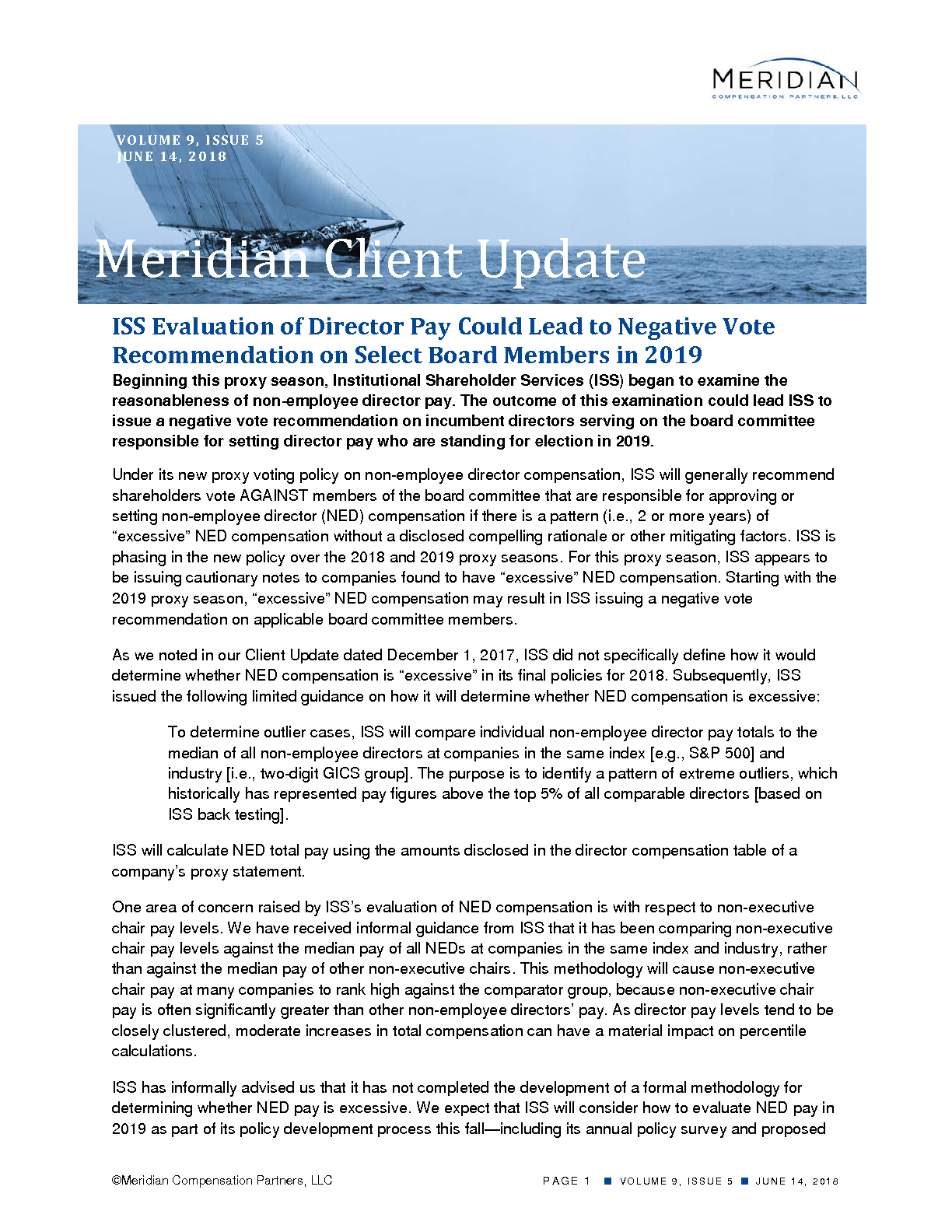 ISS Evaluation of Director Pay Could Lead to Negative Vote Recommendation on Select Board Members in 2019 (PDF)
