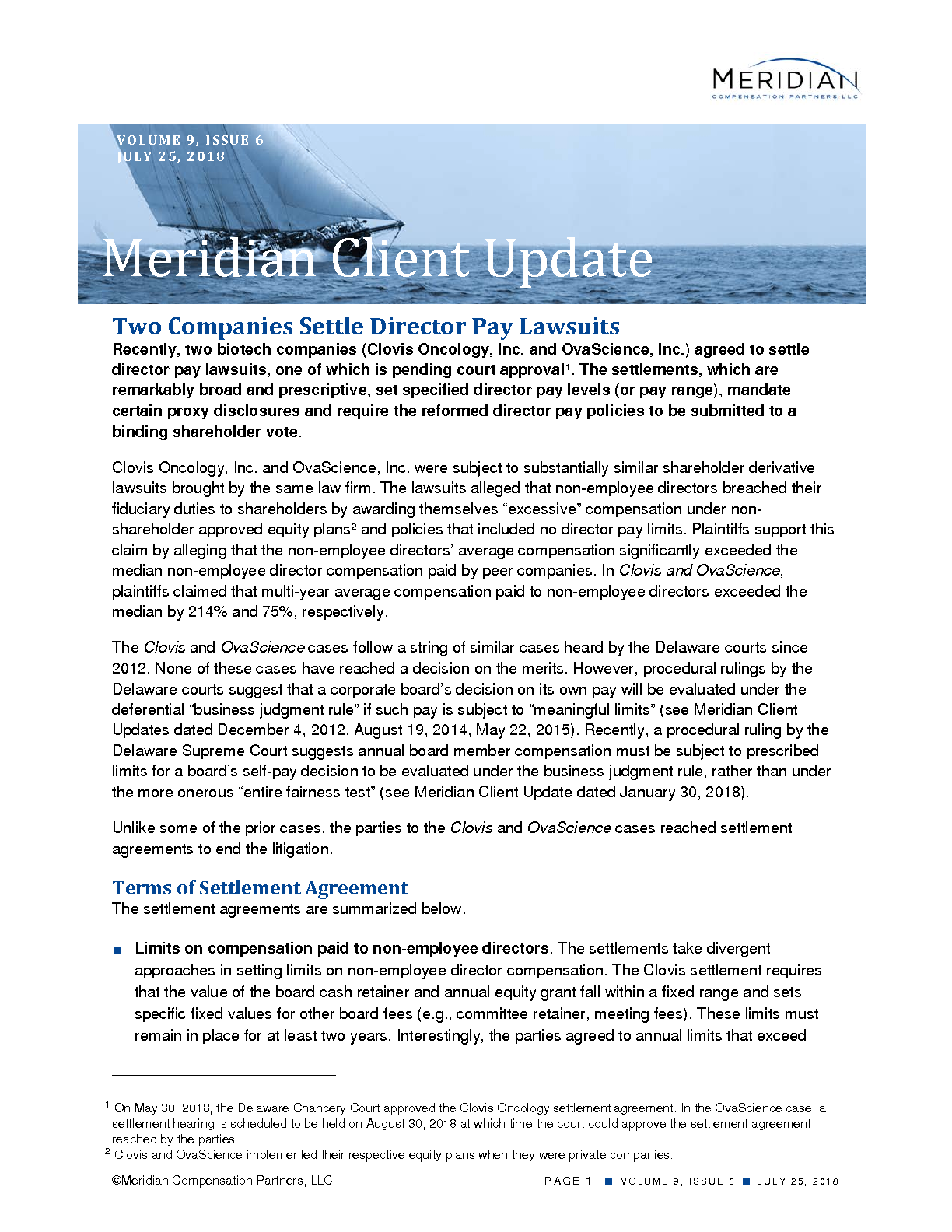 Two Companies Settle Director Pay Lawsuits (PDF)
