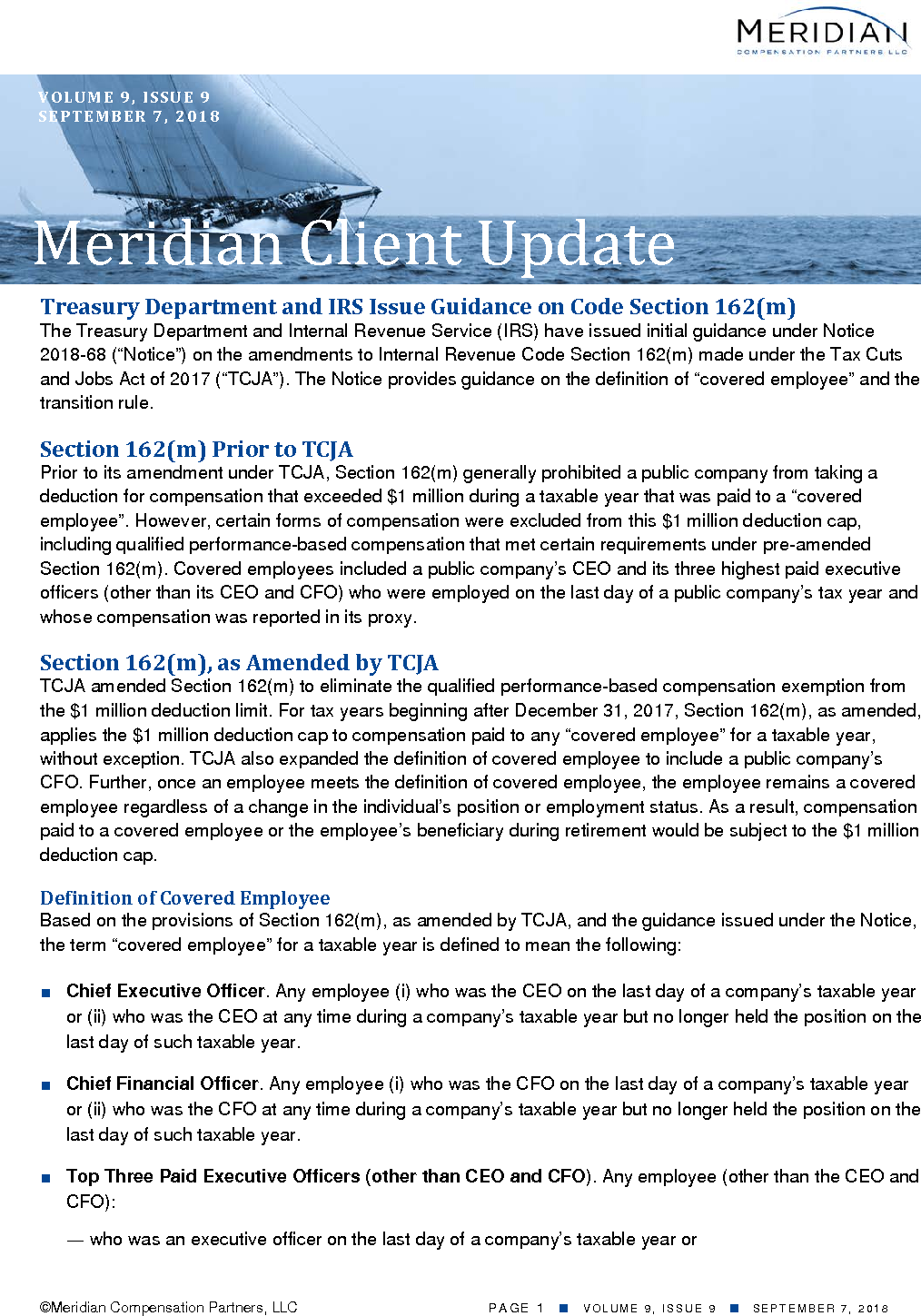 Treasury Department and IRS Issue Guidance on Code Section 162(m) (PDF)