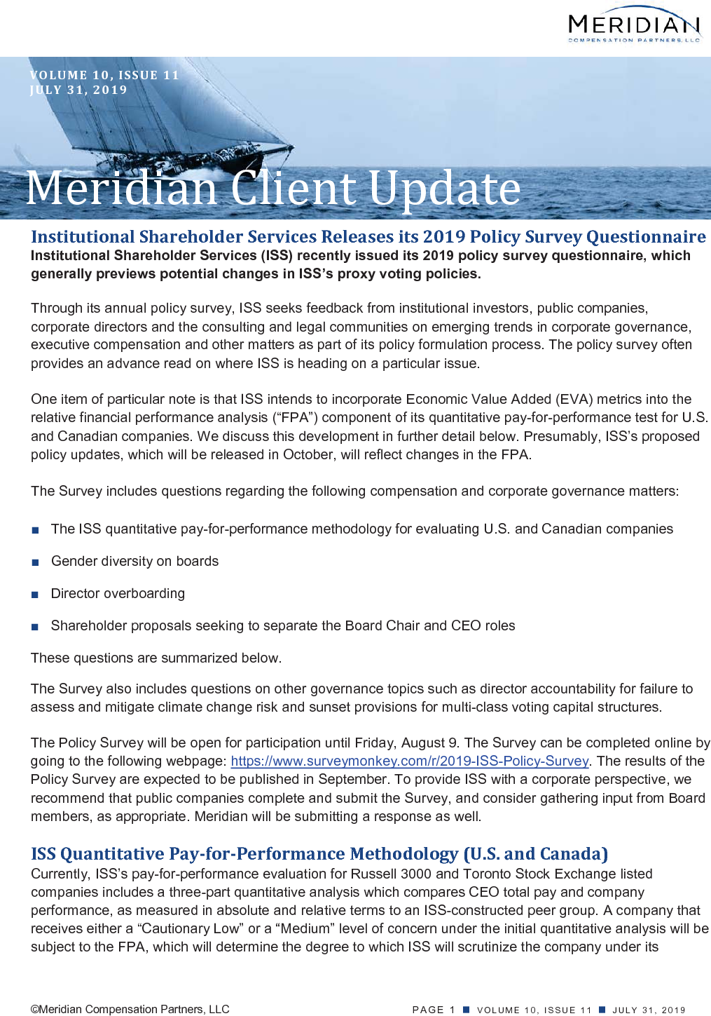 Institutional Shareholder Services Releases its 2019 Policy Survey Questionnaire (PDF)