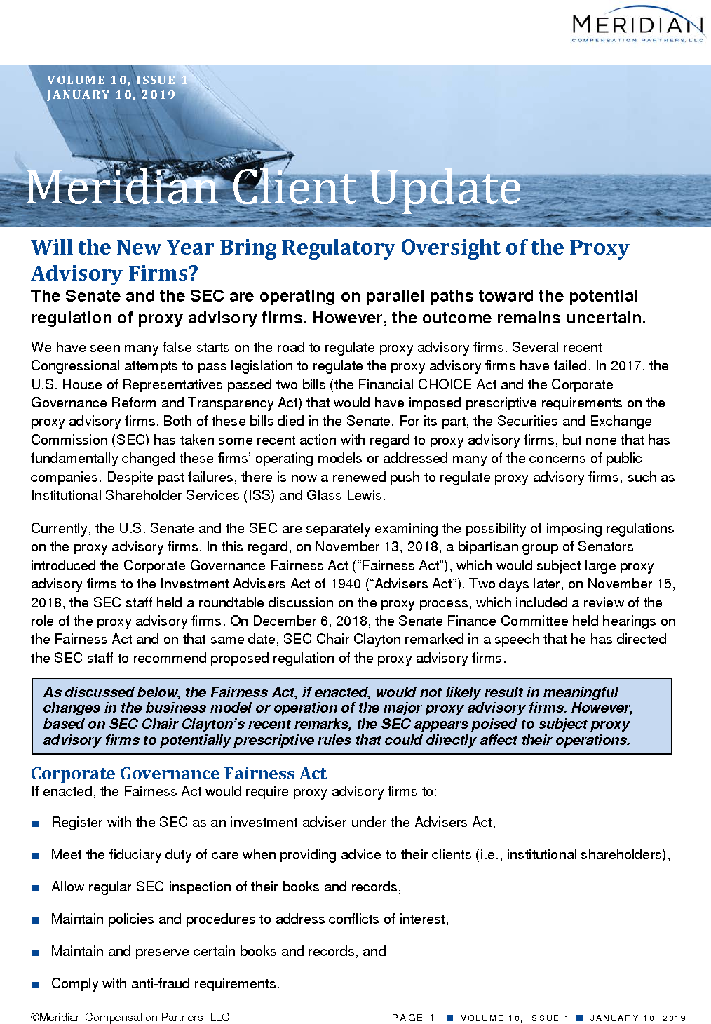 Will the New Year Bring Regulatory Oversight of the Proxy Advisory Firms? (PDF)