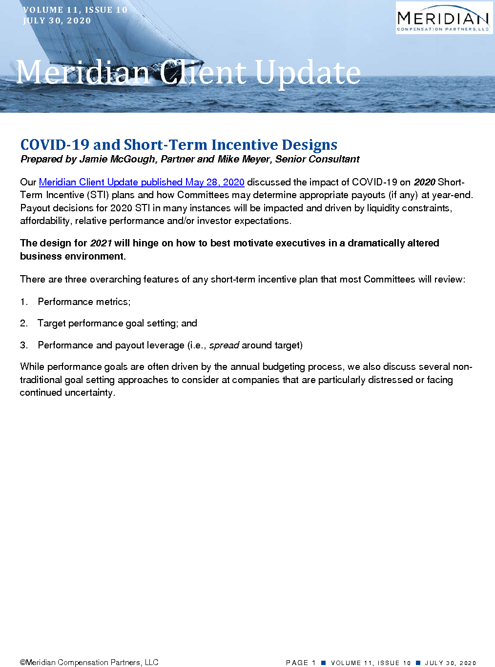 COVID-19 and Short-Term Incentive Designs (PDF)