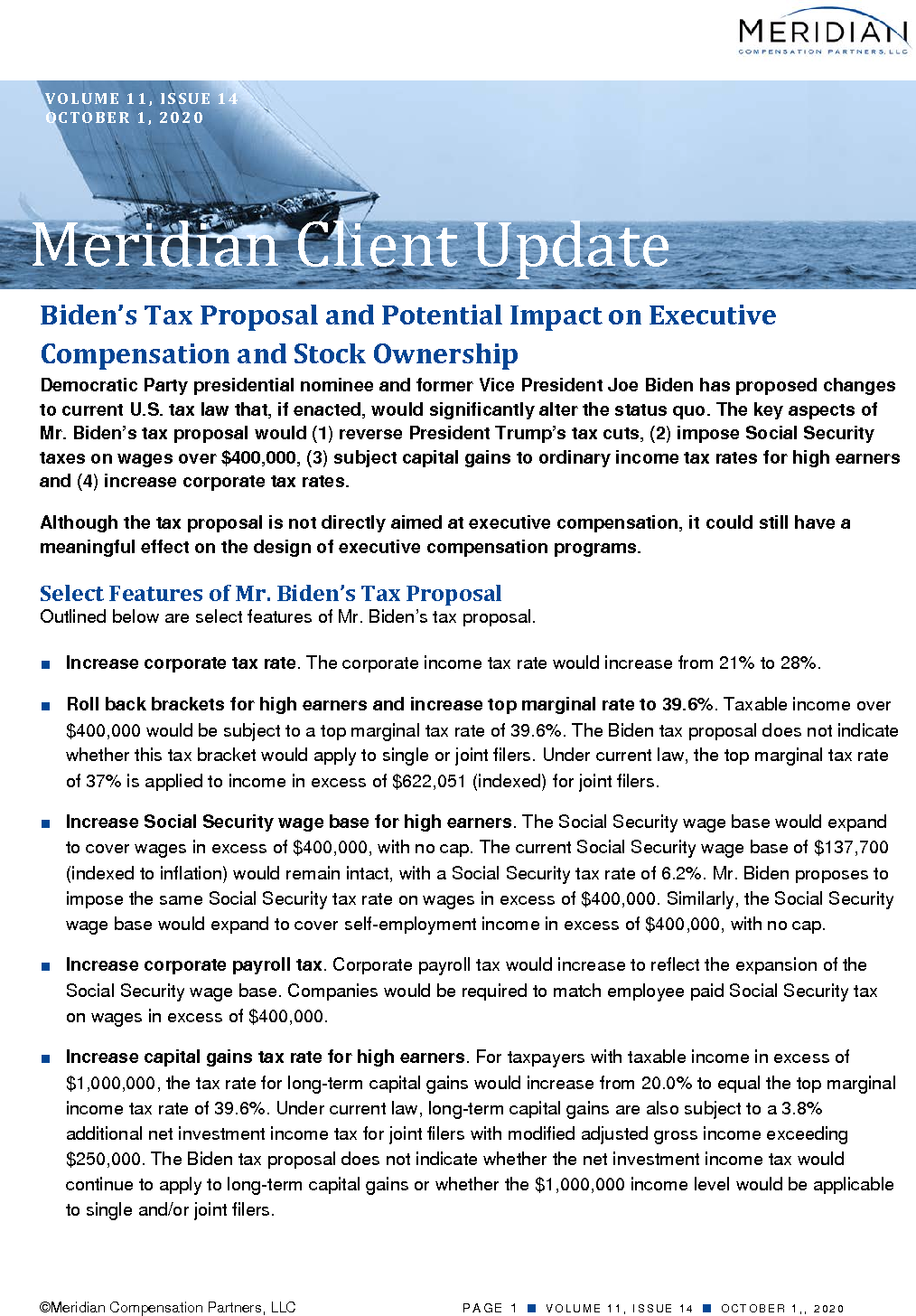 Biden's Tax Proposal and Potential Impact on Executive Compensation and Stock Ownership (PDF)