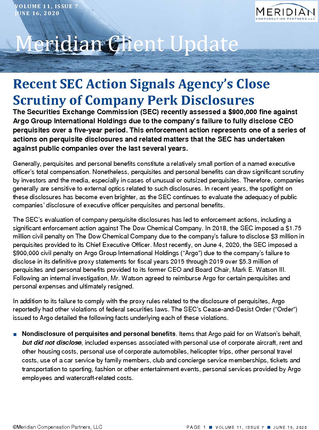 Recent SEC Action Signals Agency's Close Scrutiny of Company Perk Disclosures (PDF)