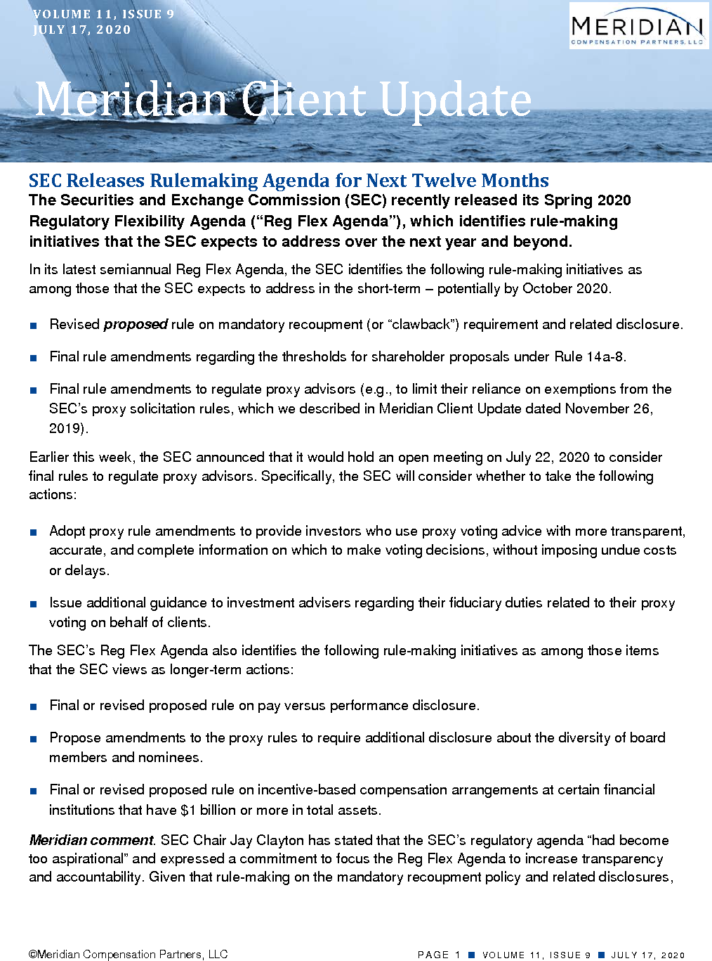 SEC Releases Rulemaking Agenda for Next Twelve Months (PDF)