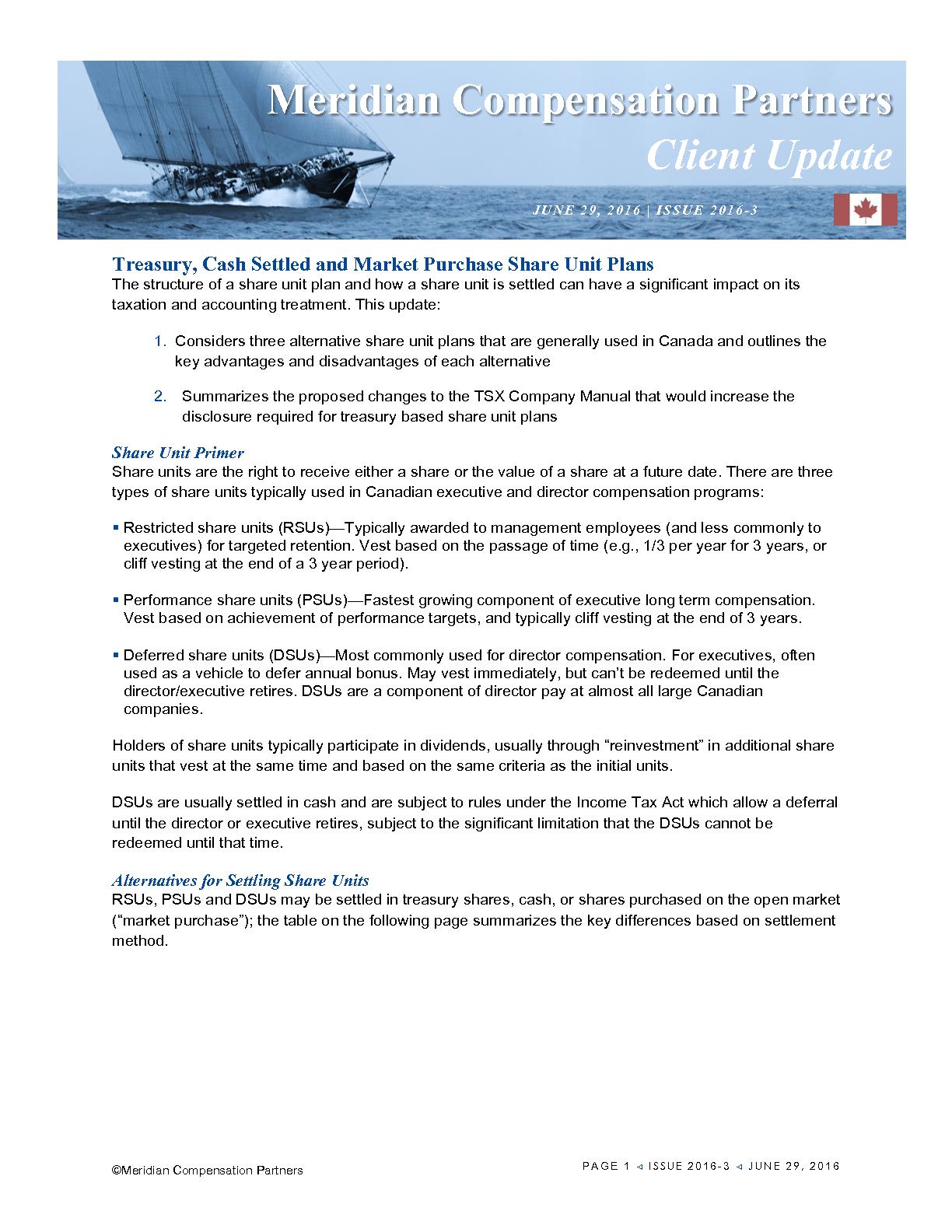 Treasury, Cash Settled and Market Purchase Share Unit Plans (PDF)