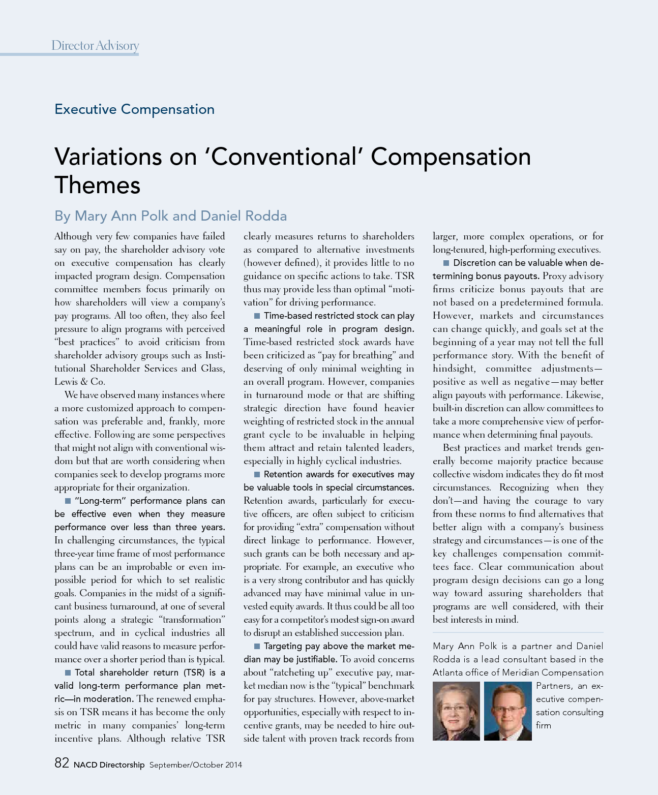"""Variations on """"Conventional"""" Compensation Themes (PDF)"""