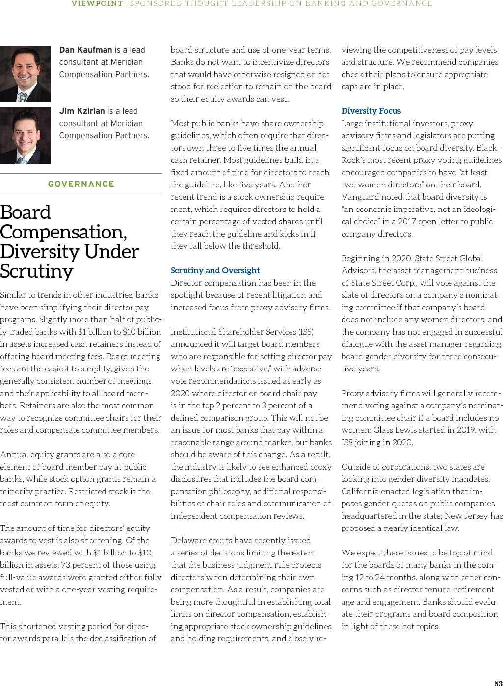 Board Compensation, Diversity Under Scrutiny (PDF)