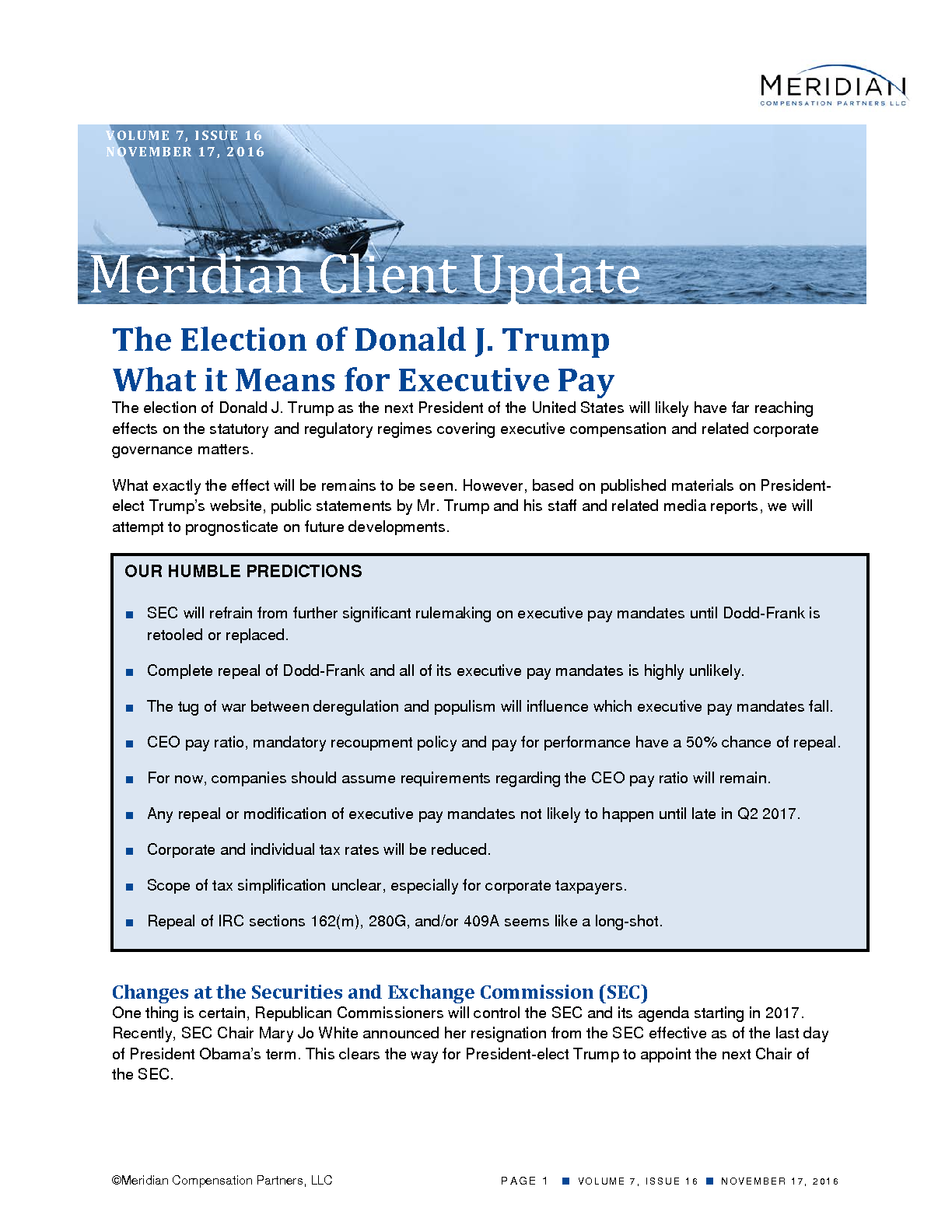 The Election of Donald J. Trump—What it Means for Executive Pay (PDF)