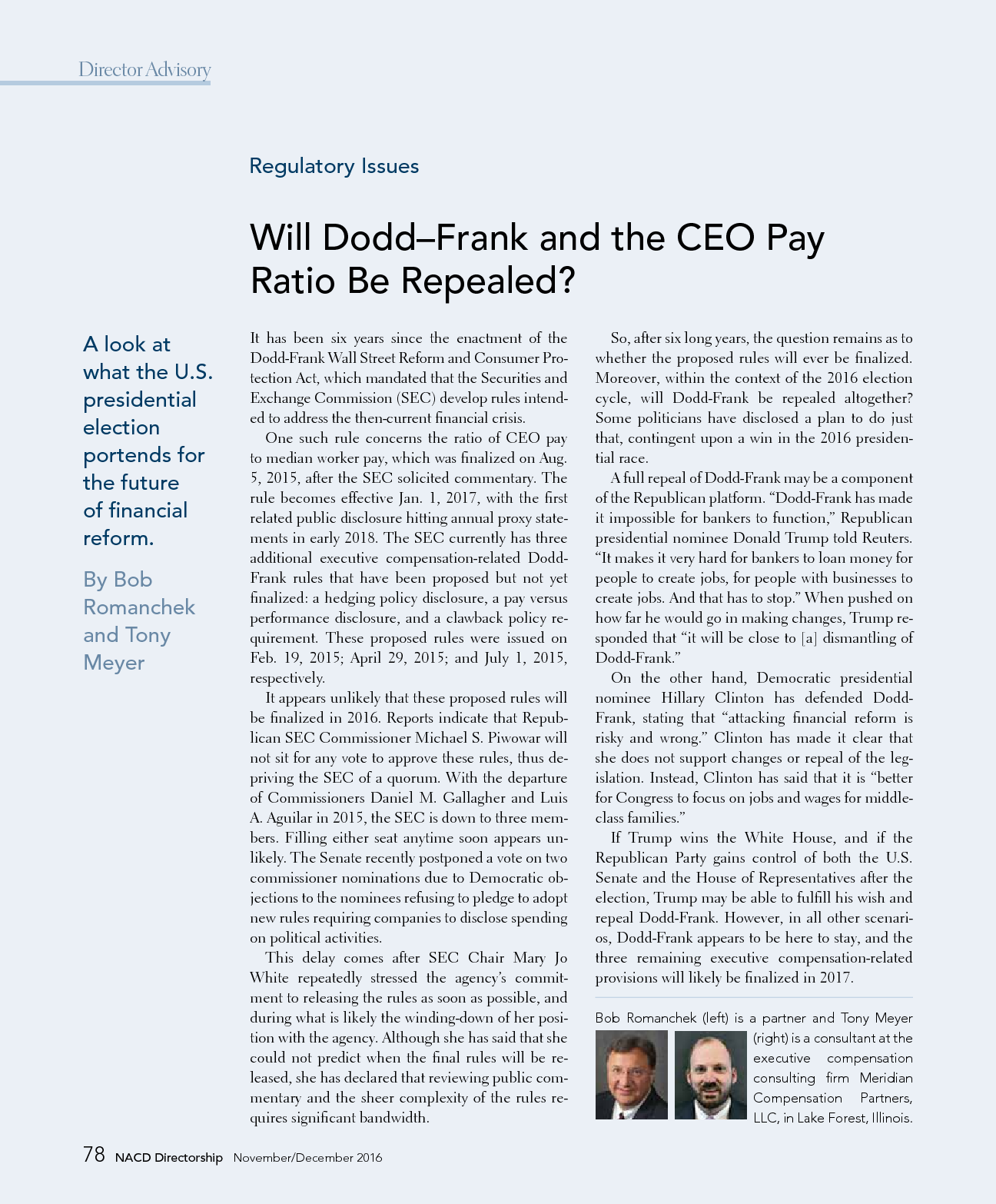 Will Dodd-Frank and the CEO Pay Ratio Be Repealed? (PDF)