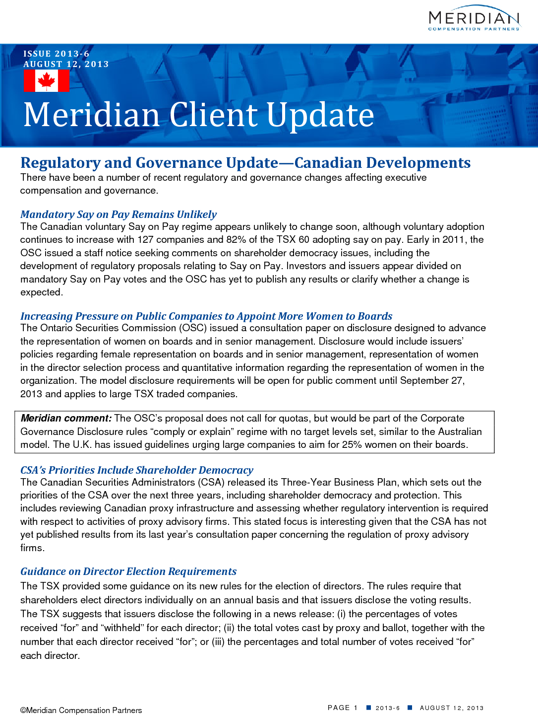 Regulatory and Governance Update (PDF)